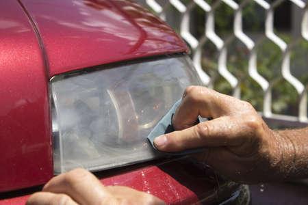 headlight polishing Standard-Bild