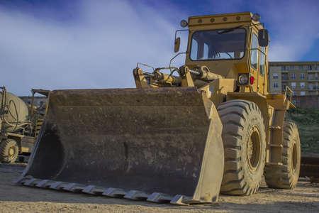 Big bulldozer at the building site photo