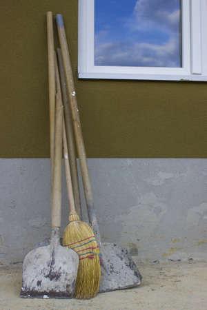 Working tools at construction site Foto de archivo