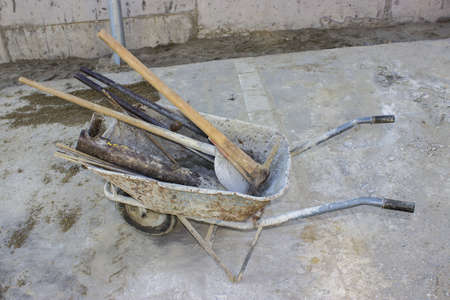 wheel barrel: Wheel barrel with the tool at the construction sites