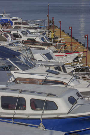 riverside county: Power boats and sailboats with dock at the marina, on Sava River in Belgrade, Serbia