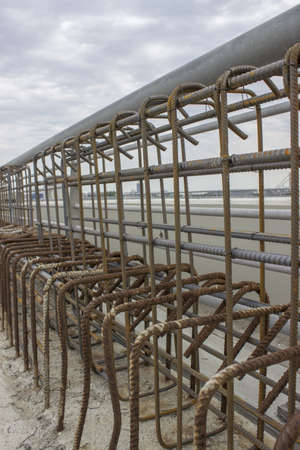 Iron mesh on construction site of Ada bridge. On Sava River, in Belgrade, Serbia photo