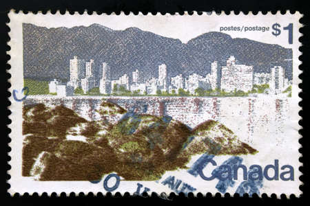 canada stamp: Canada stamp shows Vancouver by the shore.