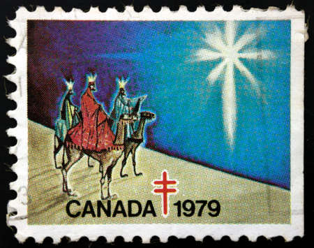 camel post: Stamp printed in Canada shows three camel riders with the crowns
