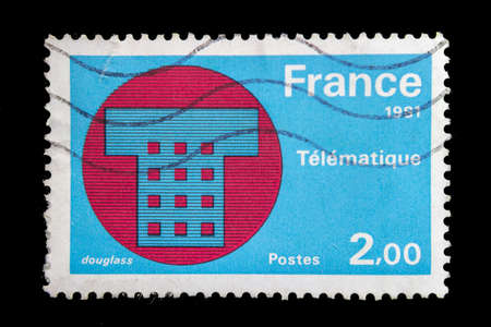 French main achievements: telematics an issue of 30 March 1981. James Douglass  La Poste. Computer terminology indicates that telematics is a set of services such as IT or origin can be provided through a network. Stok Fotoğraf