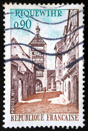 French stamp of medieval town of Riquewihr in Alsace, north-eastern France. photo