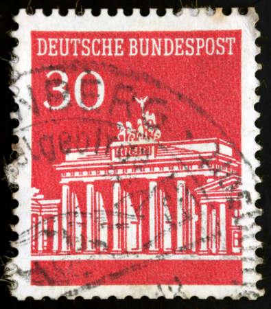 iron curtain: German stamp, Federal Post Office, Brandenburg Gate