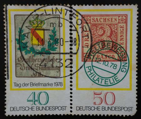 bundespost: Germania stamp, tag der briefmarke 1978. Deutsche bundespost, Three Saxon pennies Franco. Stock Photo