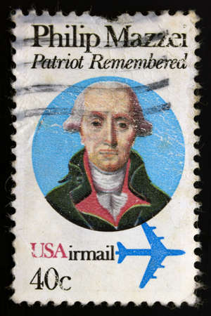 enlisting: In 1980 US post issued a commemorative stamp to honor the 280th anniversary of Philip Mazzei's birth. Stock Photo