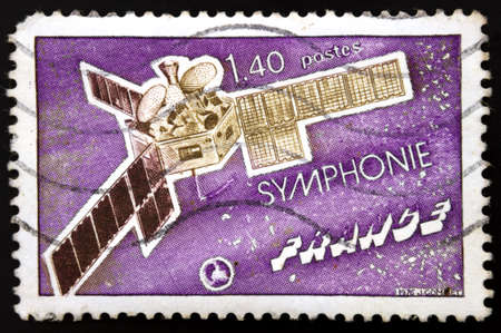 French postage stamp. Communications Satellite Symphonie, French Space Development, France, 1976 photo