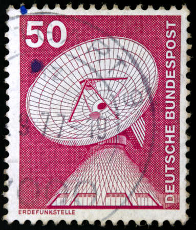 bundespost: Erdefunkstelle 50. The stamp features an engraving of a radar satellite station, one of the main early warning and listening devices of the cold war.