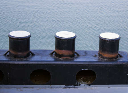 mooring bollards:  bollard on board used to secure ropes for towing and mooring. On the river Sava in Belgrade