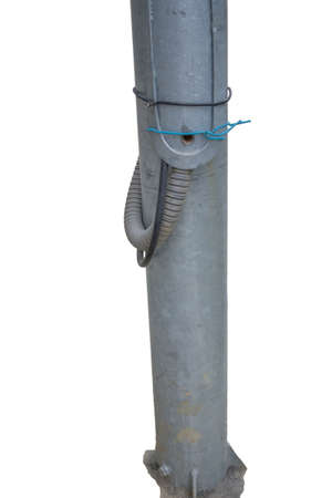 lugs: Two wires were installed on to the lugs that the electric utility uses for the street sighting pole supply. Electrical connection directly to the main electricity supply cable bypassing the meter. Stock Photo