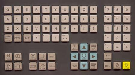 machine operator: Machine operator panel, control operator panel keyboard, industrial keyboard. Stock Photo