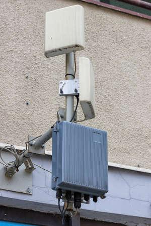 wireless communication: Outdoor wireless directional antennas on pole, wireless communication.
