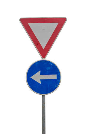 Traffic sign for give way and blue direction sign on white background with clipping path Banco de Imagens