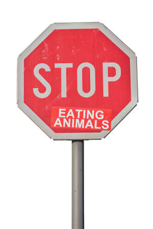 meat alternatives: Stop eating animals sign, vegetarian stop sign. Isolated on white with clipping path.