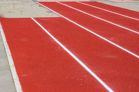 long jump: New track and long jump pit in a schoolyard