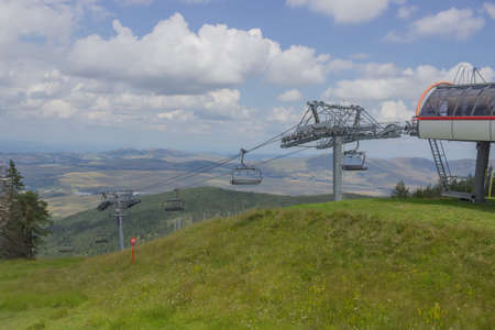 footrest: Ski lift on on the top of mountain in summer