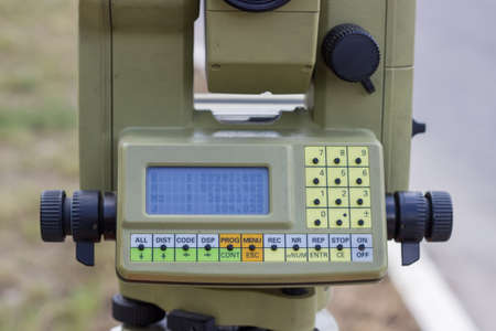 polar station: Close up of digital display on total station. Survey equipment, measuring tool. Stock Photo