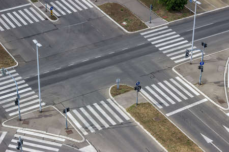 Urban street intersection seen from a building high above