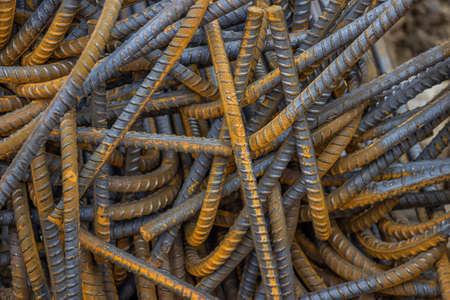 rhodium: Heap of steel rod for building job. Selective focus.
