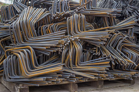 reinforcement: Stack of steel reinforcement rebar for construction, background. Selective focus. Stock Photo