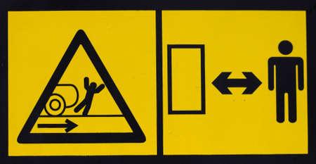 trip hazard sign: Vehicle danger warning label. Hazard warning sign. Stock Photo