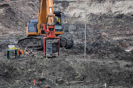 Drilling equipment for standard penetration tests and sampling through soil. Site investigations. Stock Photo