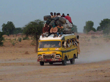 cameroon: crowded bus in Cameroon