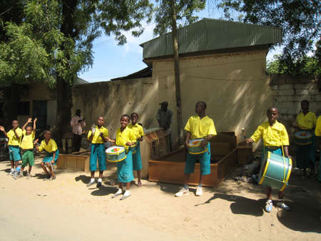 pupils playing music in Cameroon