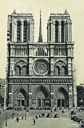 vintage postcard of Paris with Notre Dame                              Stock Photo - 12754706