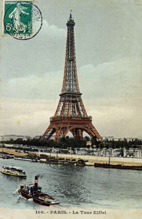 vintage postcard of Paris with the Eiffel tower