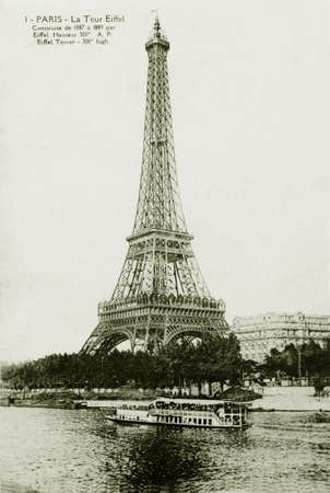 vintage postcard of Paris with Eiffel Tower                                Stock Photo - 12754703