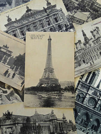 bunch of vintage postcards of Paris with Eiffel tower                                Stock Photo - 12754710