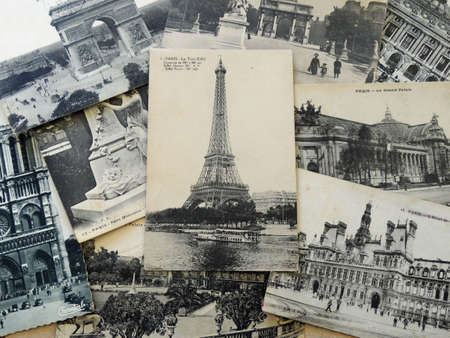 bunch of vintage postcards of Paris with Eiffel Tower