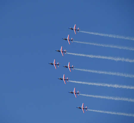 patrouille de france at an airshow in france Editorial