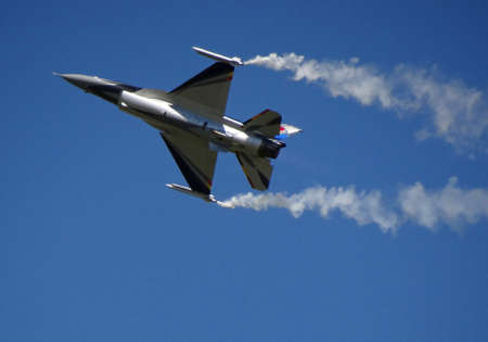 military aircraft: belgian F16 at an airshow in france