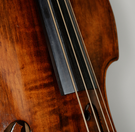 double bass, fingerboard and strings