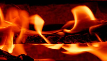 burning wood in a fireplace Banco de Imagens