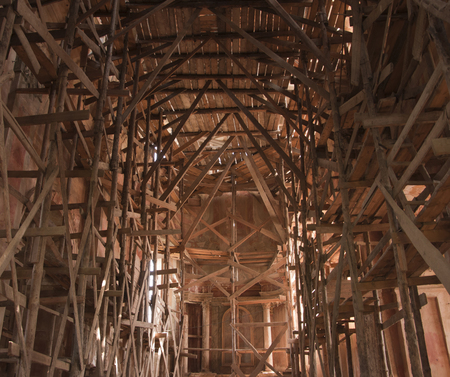 scaffolding inside the ancient church
