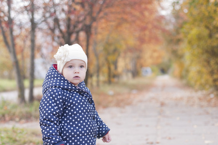 little girl on the autumn background Zdjęcie Seryjne