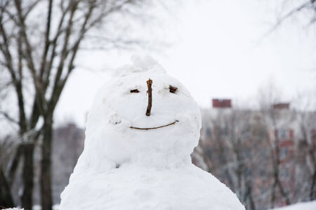 Face of snowman close up