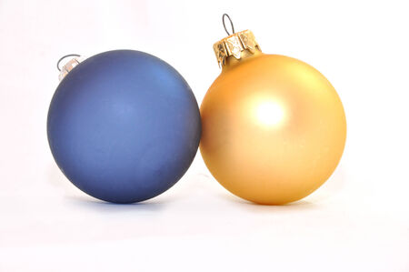 blue and gold christmas balls on the white background Zdjęcie Seryjne