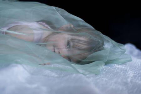 little lying girl covered transparent veil