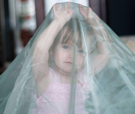 little girl covered transparent veil Zdjęcie Seryjne