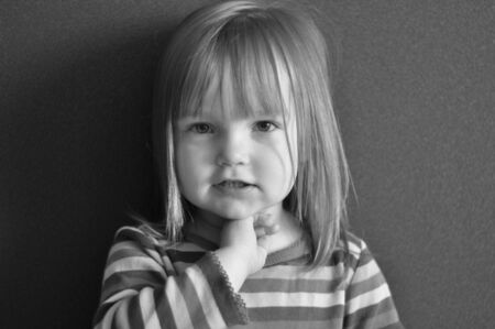 portrait of little girl black and white