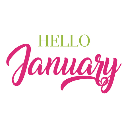 Hello January typography script lettering