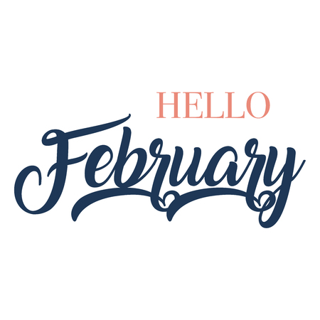 Hello February typography script lettering