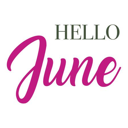 Hello June  typography script lettering 矢量图像